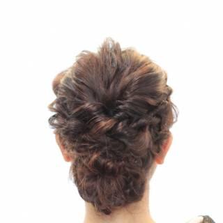 編み込み ヘアアレンジ ガーリー ミディアム ヘアスタイルや髪型の写真・画像 ヘアスタイルや髪型の写真・画像
