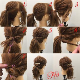 ショート ミディアム ヘアアレンジ 簡単ヘアアレンジ ヘアスタイルや髪型の写真・画像 ヘアスタイルや髪型の写真・画像
