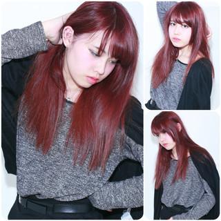 ロング レッド 外国人風 ストレート ヘアスタイルや髪型の写真・画像