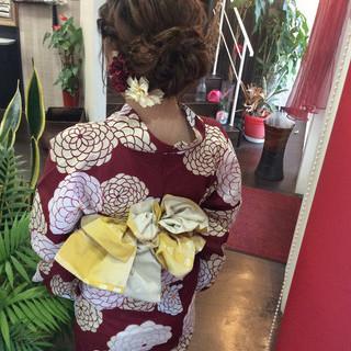 セミロング ナチュラル 浴衣ヘア ヘアアレンジ ヘアスタイルや髪型の写真・画像
