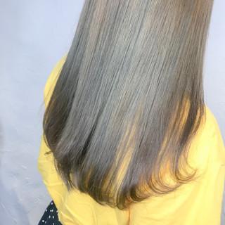 ミントアッシュ ネイビーブルー ロング ミント ヘアスタイルや髪型の写真・画像