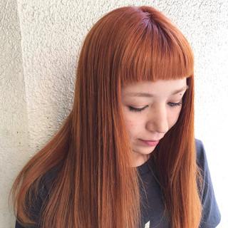 オレンジ アプリコットオレンジ ダブルカラー オレンジカラー ヘアスタイルや髪型の写真・画像