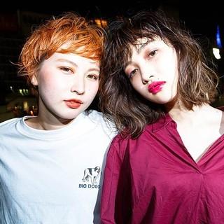 ストリート ショート ボブ オレンジ ヘアスタイルや髪型の写真・画像
