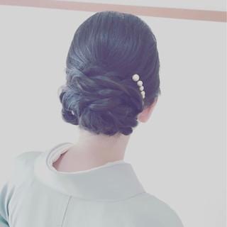 ヘアアレンジ 黒髪 エレガント 結婚式 ヘアスタイルや髪型の写真・画像