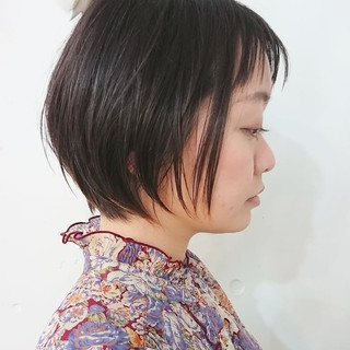 オン眉 ハンサムショート ショートヘア ショートボブ ヘアスタイルや髪型の写真・画像