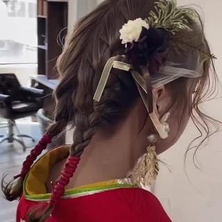 編み込み ミディアム ヘアアレンジ 編み込みヘア ヘアスタイルや髪型の写真・画像