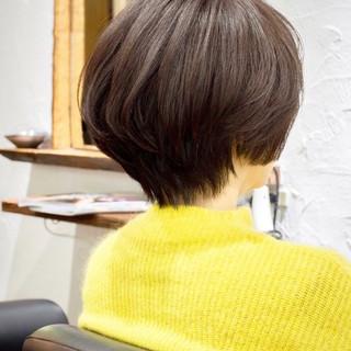 小顔ショート ナチュラル 小顔 大人かわいい ヘアスタイルや髪型の写真・画像