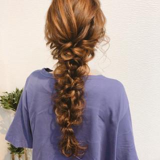 ブライダル 結婚式 編みおろしヘア 編みおろし ヘアスタイルや髪型の写真・画像