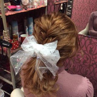 結婚式 ミディアム ヘアアレンジ 編み込みヘア ヘアスタイルや髪型の写真・画像