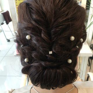 編み込み 二次会 ミディアム ヘアアレンジ ヘアスタイルや髪型の写真・画像