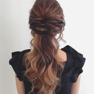 ヘアアレンジ ポニーテール ロング ブライダル ヘアスタイルや髪型の写真・画像