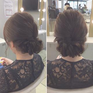 エレガント ミディアム 上品 編み込み ヘアスタイルや髪型の写真・画像