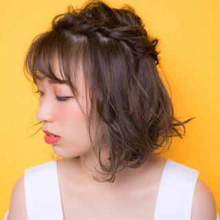 ヘアアレンジ グレージュ ハイライト ガーリー ヘアスタイルや髪型の写真・画像