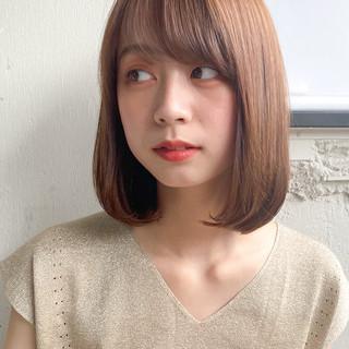 縮毛矯正ストカール ストレート ロブ 切りっぱなしボブ ヘアスタイルや髪型の写真・画像