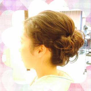 大人かわいい 着物 編み込み まとめ髪 ヘアスタイルや髪型の写真・画像 ヘアスタイルや髪型の写真・画像