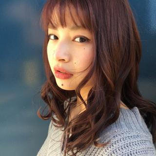 大人かわいい セミロング 大人女子 小顔 ヘアスタイルや髪型の写真・画像
