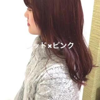 大人かわいい セミロング ピンク ラフ ヘアスタイルや髪型の写真・画像