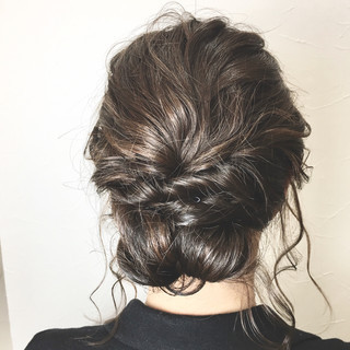 フェミニン ヘアアレンジ セミロング ゆるふわ ヘアスタイルや髪型の写真・画像