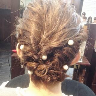 コンサバ 結婚式 ヘアアレンジ 三つ編み ヘアスタイルや髪型の写真・画像