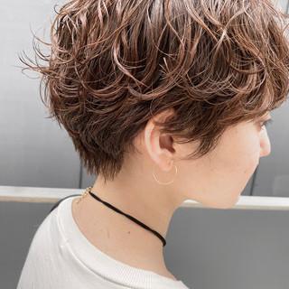 デジタルパーマ ショートボブ 小顔ショート パーマ ヘアスタイルや髪型の写真・画像