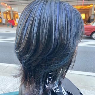 モード 大人ミディアム ブリーチオンカラー 大人ハイライト ヘアスタイルや髪型の写真・画像