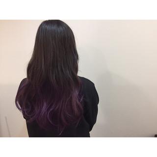 アッシュ 暗髪 ロング グラデーションカラー ヘアスタイルや髪型の写真・画像