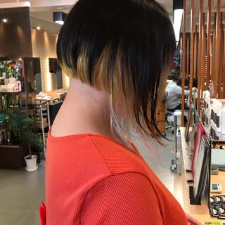 モード ボブ インナーカラー ヘアスタイルや髪型の写真・画像 ヘアスタイルや髪型の写真・画像