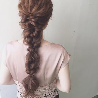 夏 結婚式 ロング ゆるふわ ヘアスタイルや髪型の写真・画像