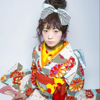 ナチュラル セミロング かわいい 着物 ヘアスタイルや髪型の写真・画像