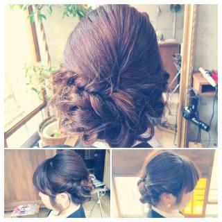 ねじり 結婚式 コンサバ ヘアアレンジ ヘアスタイルや髪型の写真・画像