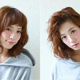 ミディアム ストリート ゆるふわ モテ髪 ヘアスタイルや髪型の写真・画像