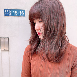 アプリコットオレンジ ナチュラル コーラルピンク ロブ ヘアスタイルや髪型の写真・画像