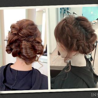 結婚式 編み込み ロング まとめ髪 ヘアスタイルや髪型の写真・画像