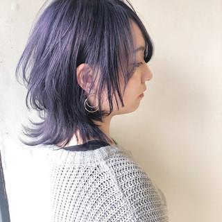 ハイトーンカラー 透明感 ミディアム デート ヘアスタイルや髪型の写真・画像
