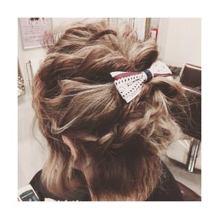ボブ ヘアアレンジ ハーフアップ ショート ヘアスタイルや髪型の写真・画像 ヘアスタイルや髪型の写真・画像