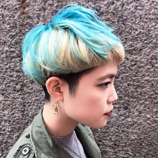 ストリート マッシュ ブルー ボブ ヘアスタイルや髪型の写真・画像
