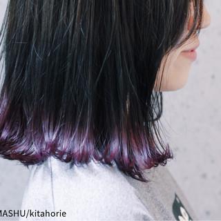 モード グレージュ グラデーションカラー パープル ヘアスタイルや髪型の写真・画像