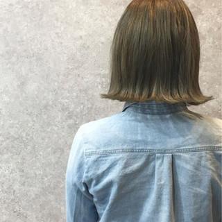 外国人風カラー ブリーチ ガーリー ボブ ヘアスタイルや髪型の写真・画像