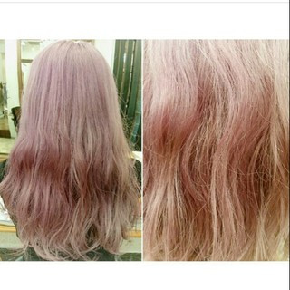 ピンク 外国人風 レッド セミロング ヘアスタイルや髪型の写真・画像