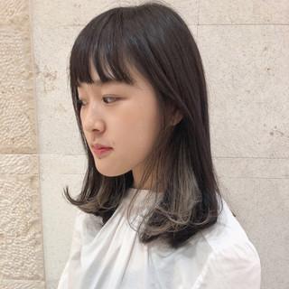 大人かわいい ハイライト 簡単スタイリング ミディアム ヘアスタイルや髪型の写真・画像