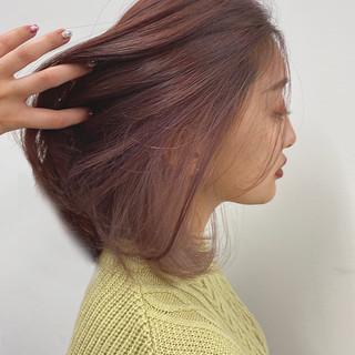 切りっぱなしボブ インナーカラー フェミニン ロング ヘアスタイルや髪型の写真・画像