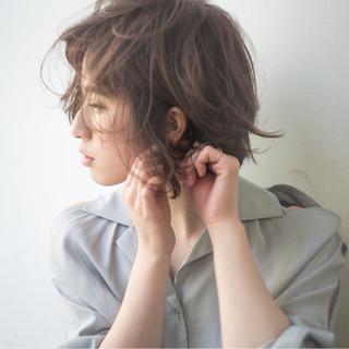 抜け感 アンニュイ ショートバング ゆるふわ ヘアスタイルや髪型の写真・画像