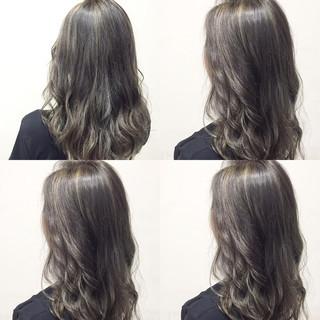 外国人風 ミディアム ハイライト セミロング ヘアスタイルや髪型の写真・画像