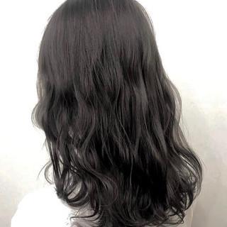 アッシュ 黒髪 ミディアム ナチュラル ヘアスタイルや髪型の写真・画像