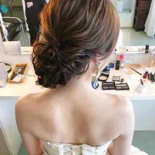 フェミニン 結婚式ヘアアレンジ セミロング 大人かわいい ヘアスタイルや髪型の写真・画像