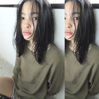 フェミニン 暗髪 黒髪 ピュア ヘアスタイルや髪型の写真・画像