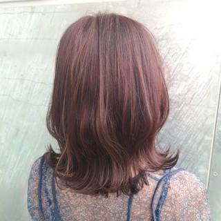 イルミナカラー ミディアム ピンク 大人かわいい ヘアスタイルや髪型の写真・画像