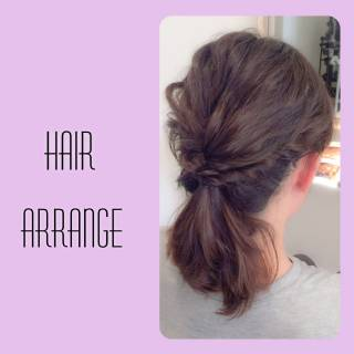 ポニーテール 簡単ヘアアレンジ ねじり 編み込み ヘアスタイルや髪型の写真・画像