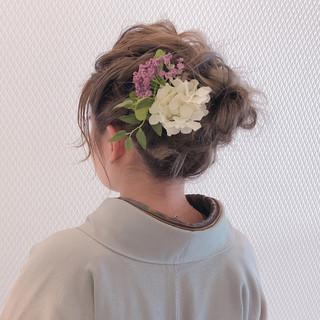 ヘアセット ナチュラル ミディアム 成人式ヘア ヘアスタイルや髪型の写真・画像