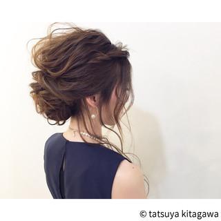 ロング ゆるふわ 結婚式 アップスタイル ヘアスタイルや髪型の写真・画像